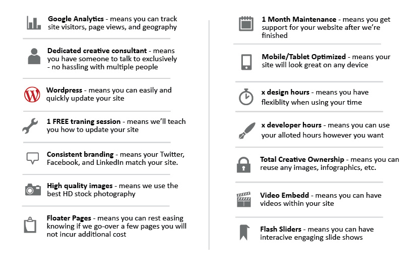 web design web verbiage with icons - low res
